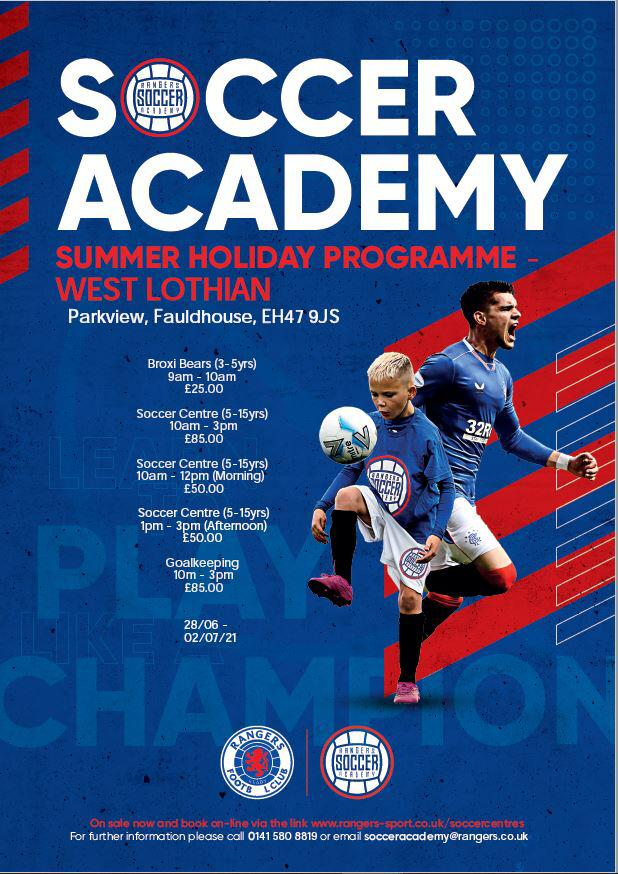 Rangers Soccer Academy Summer Holiday Programme West Lothian @ Park View