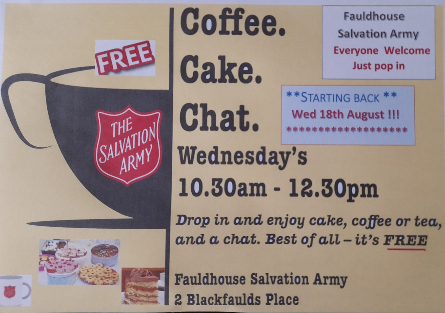Coffee, Cake, Chat @ Salvation Army Fauldhouse